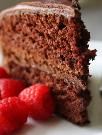 Chocolate Miracle Whip Cake with Fudge Icing