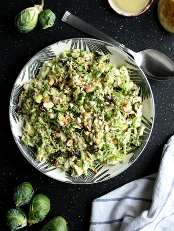 Brussel Sprout Slaw with Cranberries, Cashews and Apples