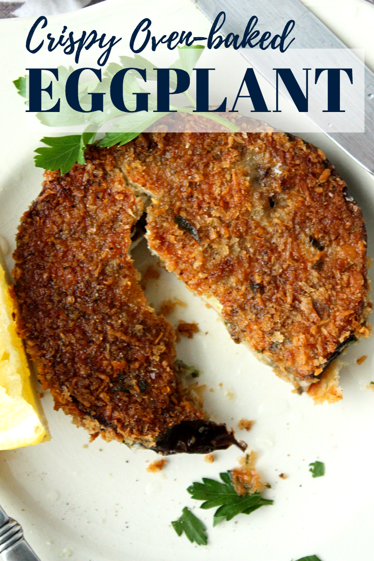 Oven baked crispy goodness. These panko crusted eggplant rounds are perfect as a side dish and hearty enough to take center stage.