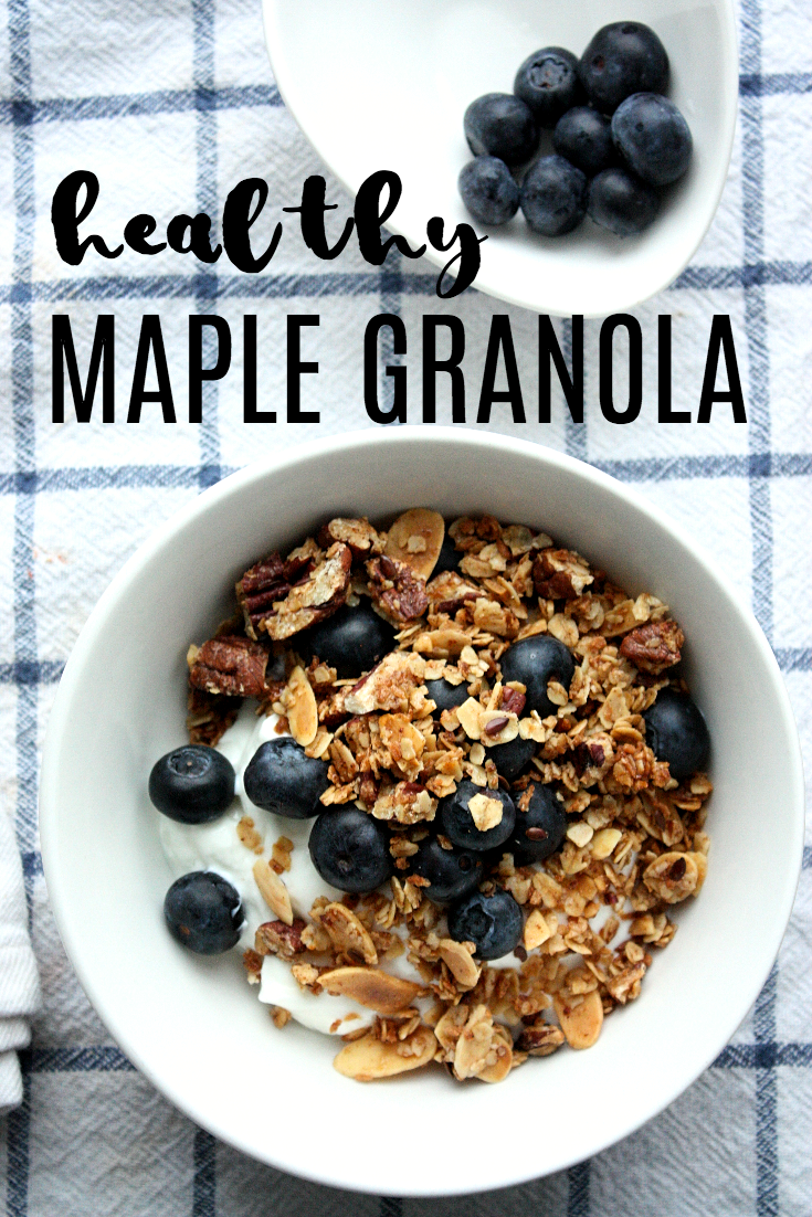 Start your morning routine off right with some delicious healthy granola. Top some greek yogurt with a couple spoonfuls of this crunchy, nutty, maple infused goodness.