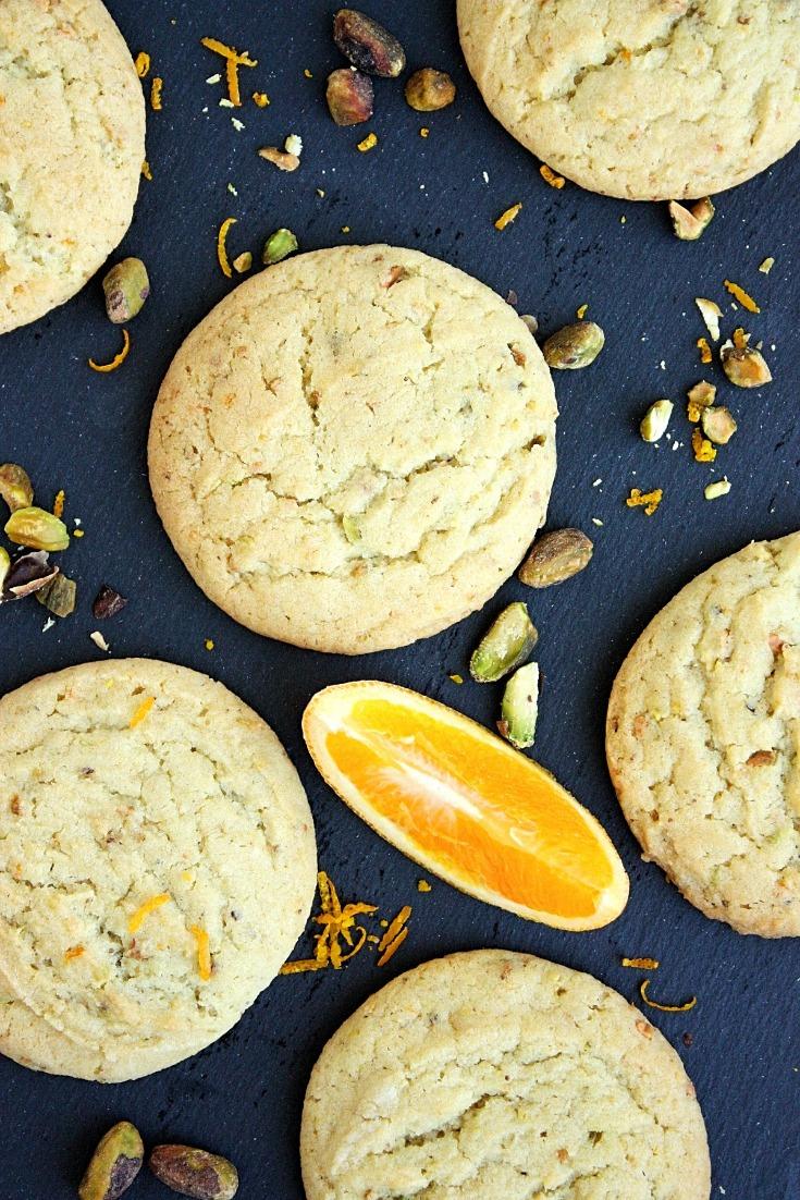 Orange Pistachio Chewy Sugar Cookies