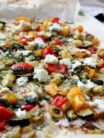 Roasted zucchini and peppers with goat cheese