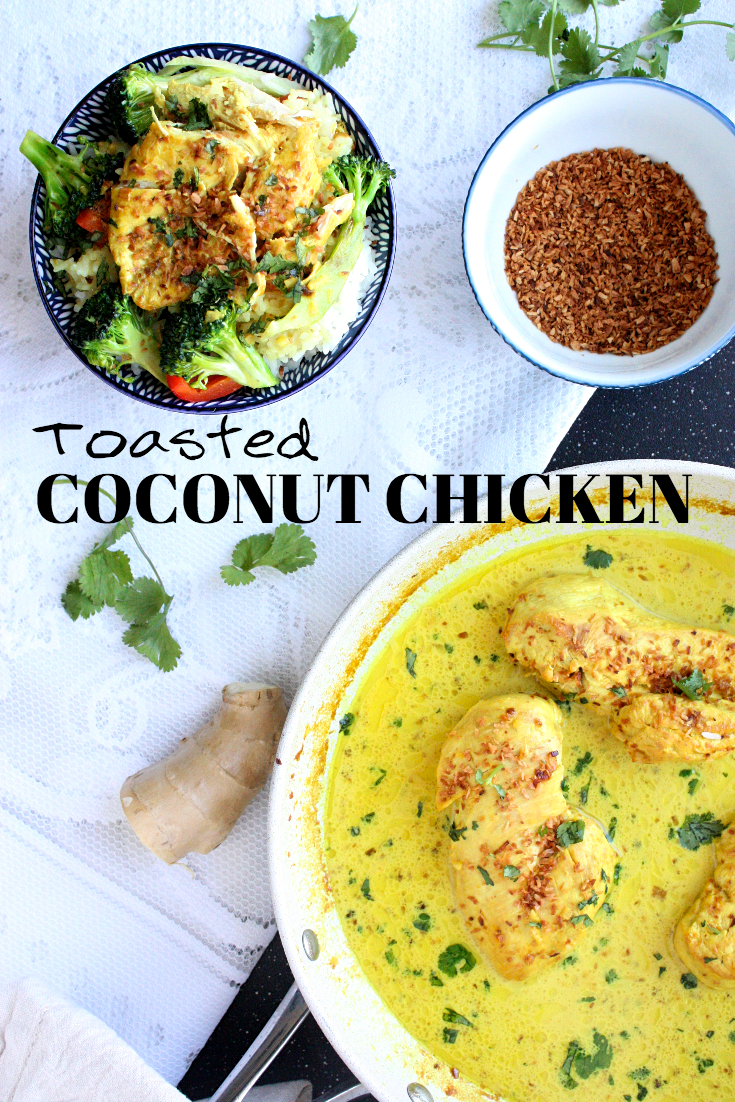 Looking for a healthy, easy chicken dish to make this evening? Try out this toasted coconut chicken. It's fragrant, flavourful, and light, plus, a breeze to whip up. Pair it with your fav sides (I do sticky rice and broccoli) and you're in business!