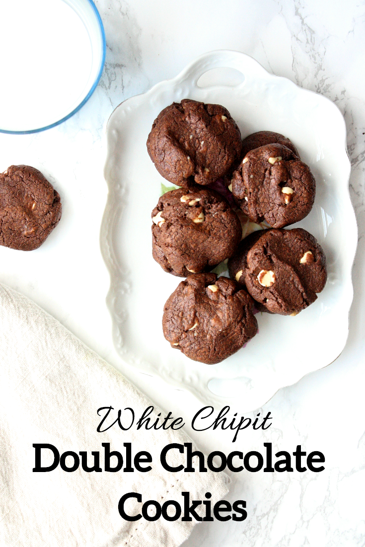 Treat yourself. Come on. You deserve it. Get yourself a big tall glass of milk and settle in with a good book and a plateful of these crispy chocolate chocolate cookies with white chipits.