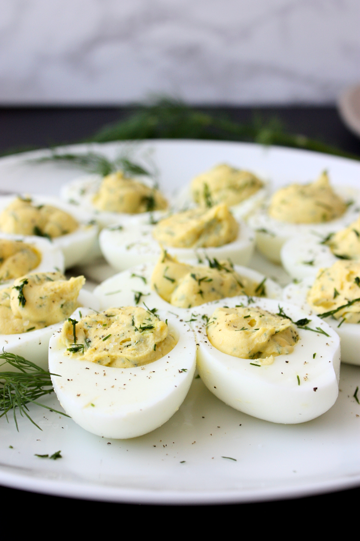 Pretty up your next tea party buffet with a platter of these deviled eggs with fresh dill. More reasons to make this dish at your next gathering—eggs are GOOD for you (despite the mayo action happening) and this app is a breeze to whip up in 15 minutes, plus the fresh dill adds a bright delicious flavour.