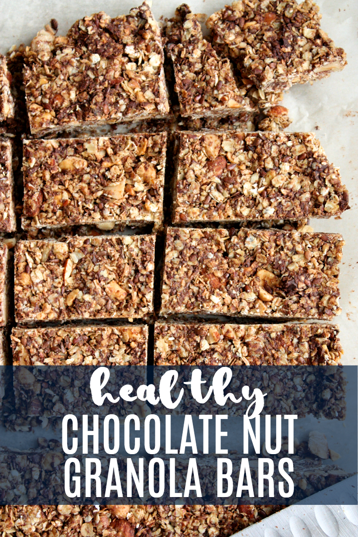 Silence the post school hangry whines of little people with these healthy chocolate nut granola bars. Loaded with good stuff like organic oats, flax seed, almonds, pecans, and coconut, you can feel good about feeding these tasty treats to the people you love (yes, even in those really hangry moments).