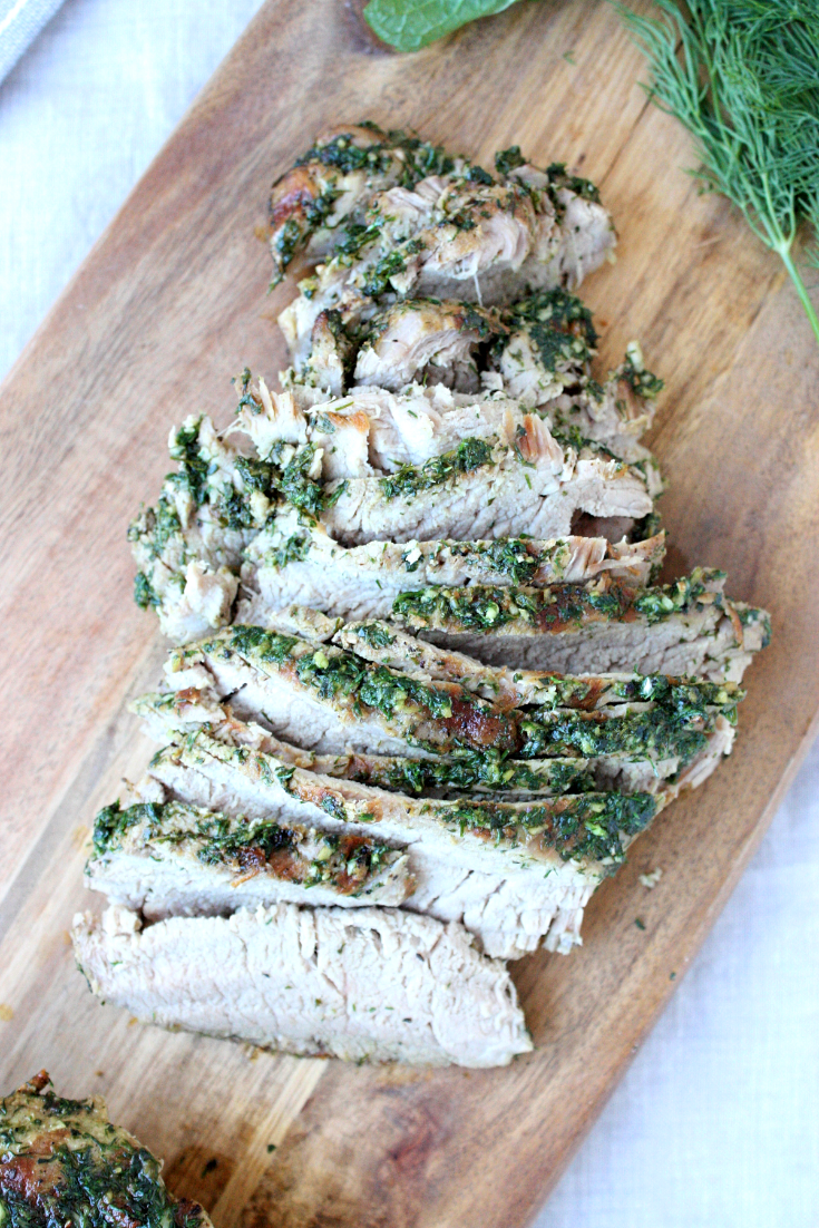 This herb-rubbed pork tenderloin is a dinnertime staple in my kitchen! It pairs deliciously with sweet potato fries and a simple green side salad. YUM.