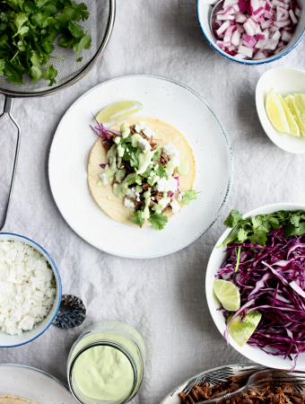 Pot Roast Tacos with Lime Crema