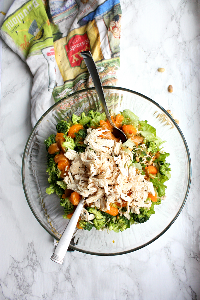 Crunchy ramen chicken salad with peanut dressing
