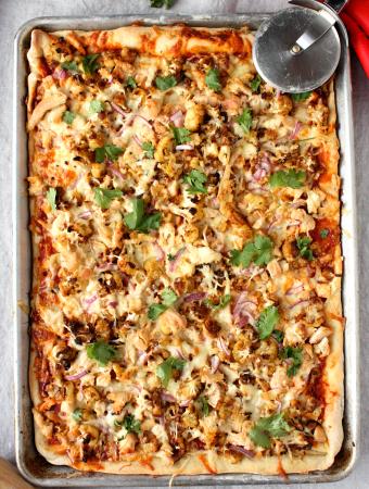 Roasted Cauliflower Chicken Pizza