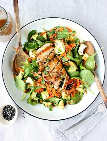 Loaded Sesame Ginger Spinach Salad