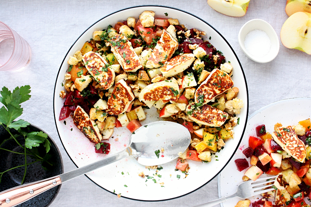 Beetroot and Halloumi Salad with Apples - Monday Sunday ...