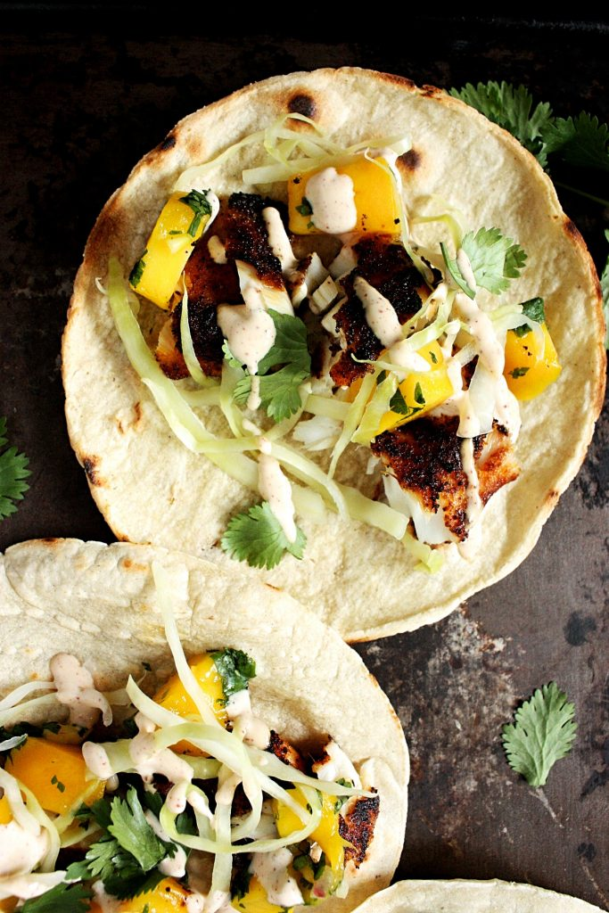 Easy Tilapia Fish Tacos with Mango Salsa and Slaw