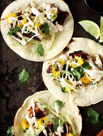 Easy Tilapia Fish Tacos with Mango and Slaw