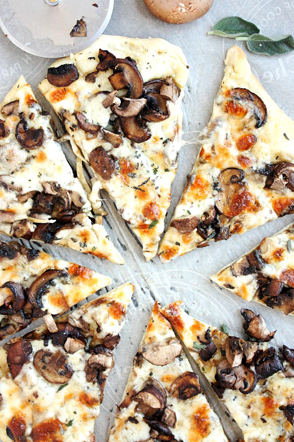 Mushroom Pizza Recipe with Garlic and Sage