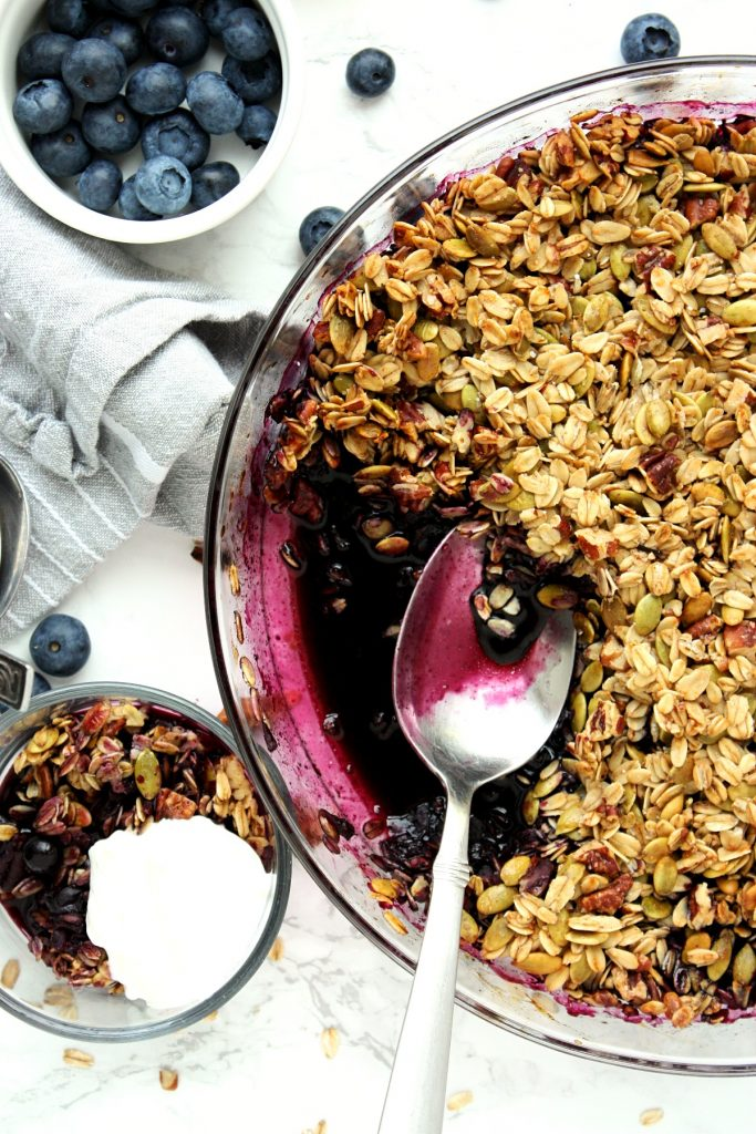Serving up this blueberry crisp with Greek yogurt