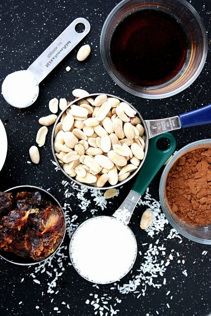 All the ingredients for the chocolate peanut energy bites.