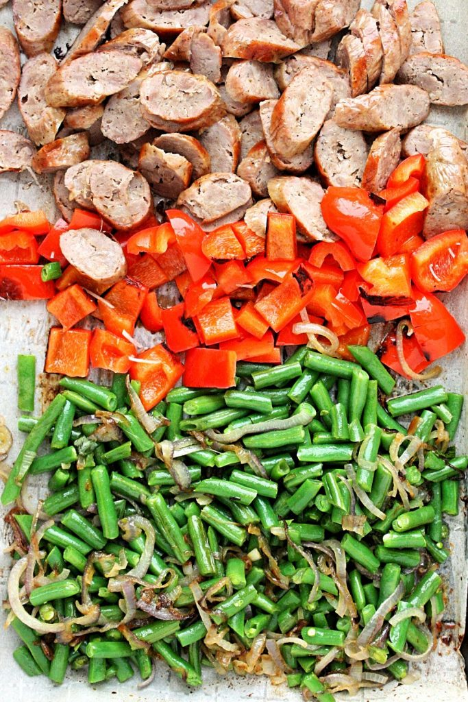 Grilled Italian sausages, red peppers, garden beans, and shallots.
