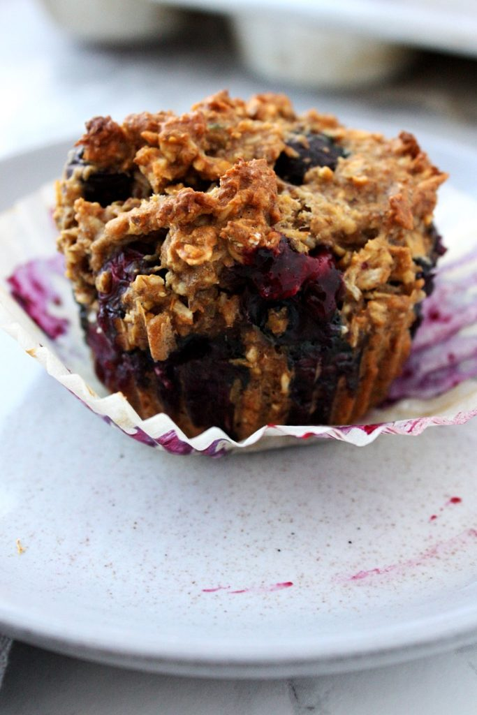 Unwrapped healthy blueberry coconut muffin