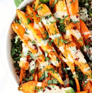 Oven Roasted Carrots with Tahini Dressing