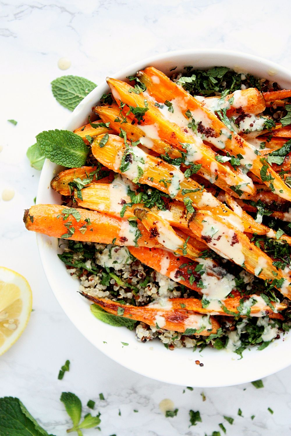 Oven-Roasted Carrots with Tahini Dressing
