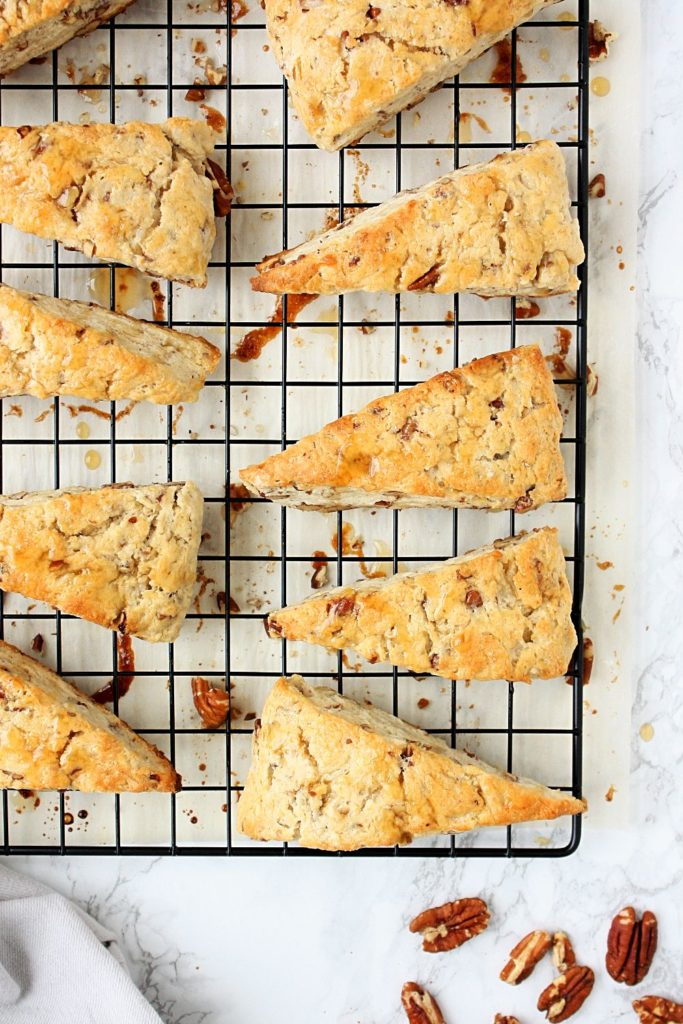 Maple pecan scones on a cooling rack