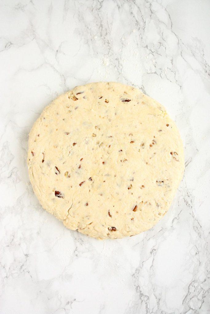 Circle of scone dough