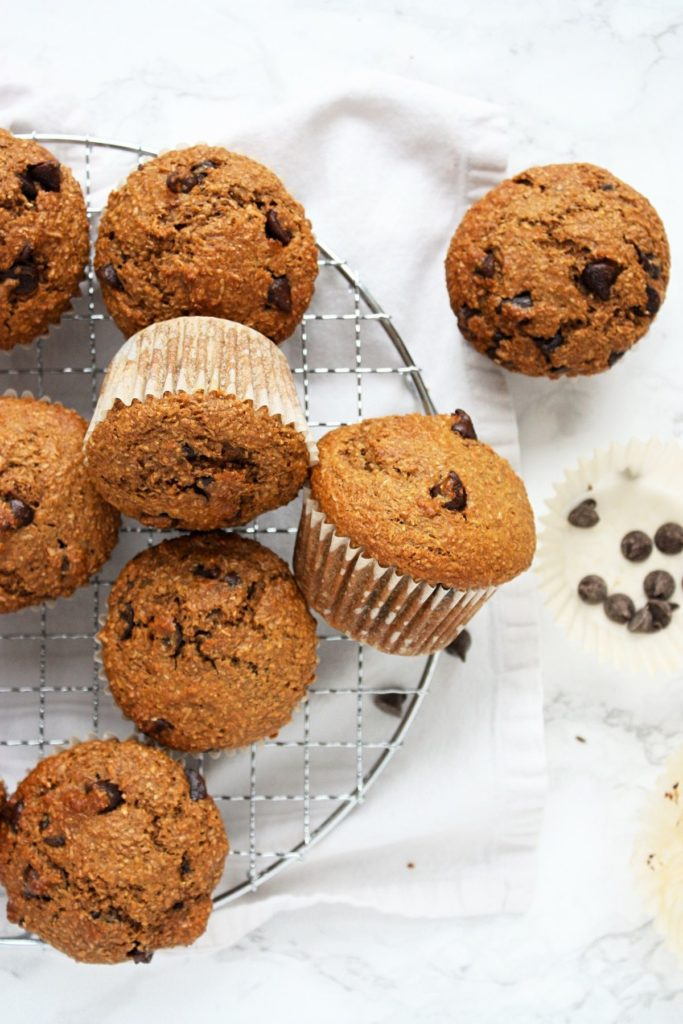 Chocolate Chip Bran Muffins on a baking rack.