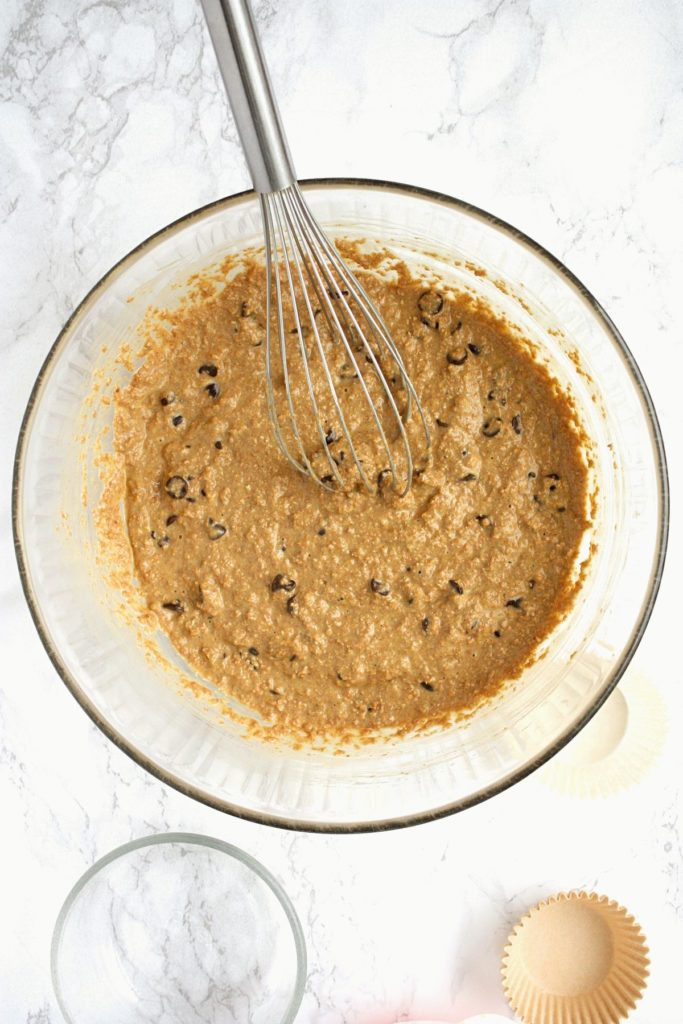 Bran muffin batter in a mixing bowl.