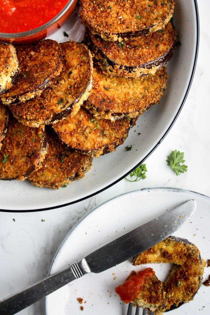 Crispy oven-baked eggplant recipe.