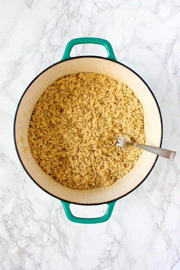 Pot of cooked, whole wheat couscous.